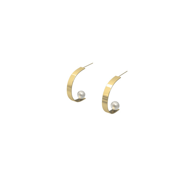 14K Gold Filled C-Shape Semi Hoop Pearl Stud Earrings (Quick to ship)