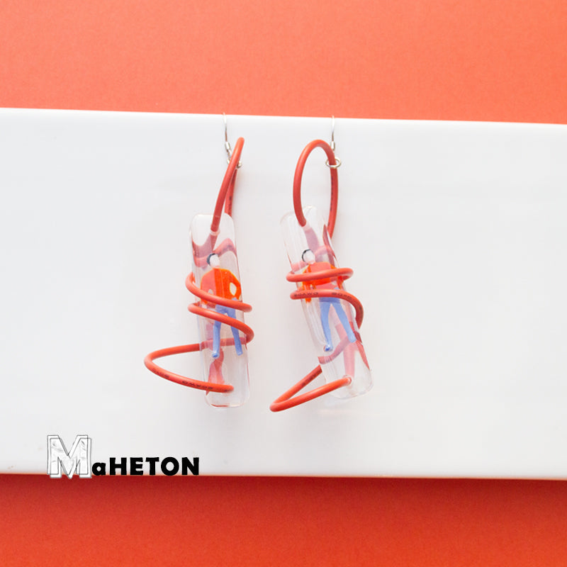 3D Spiral Figurines Drop Earrings - AHED Project