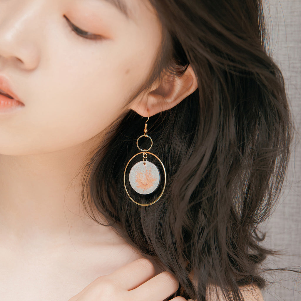 Pearlescent Full Moon Drop Hoop Earrings