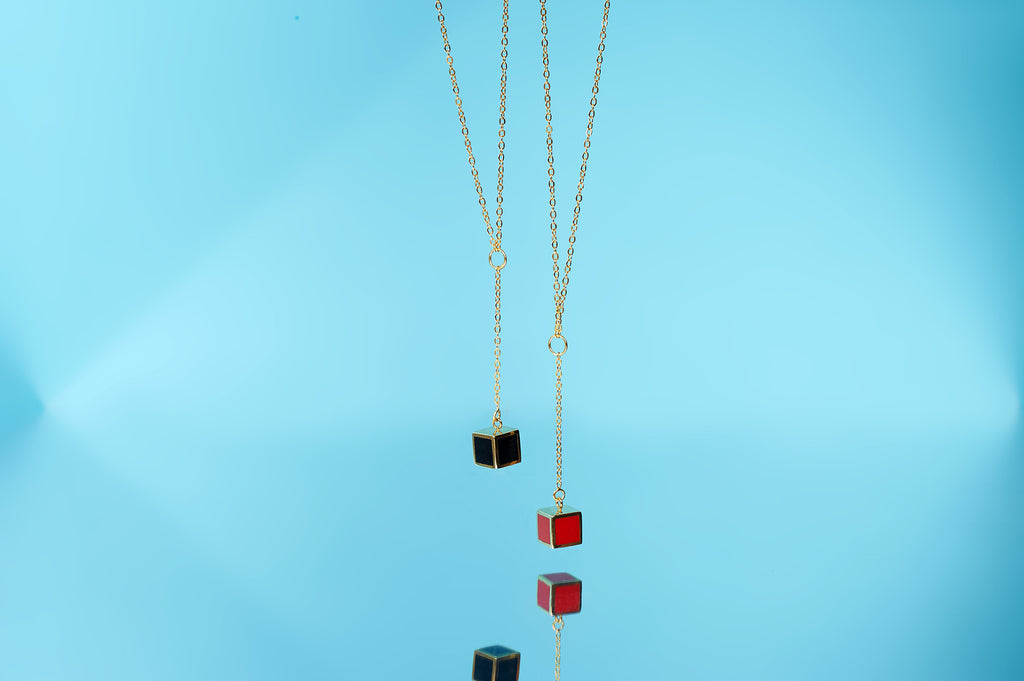 14K Gold filled Y-Shape Black Cube Necklace - AHED Project