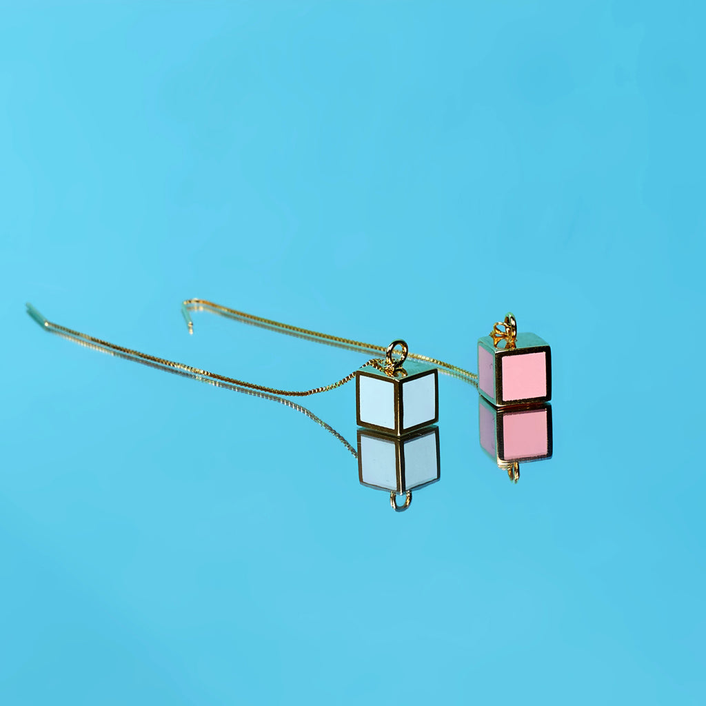 Pink & Blue Cube Drop Threader Earrings
