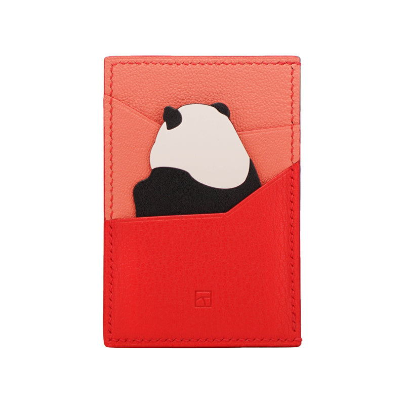 Limited Edition Panda Card Holder- Peach Red