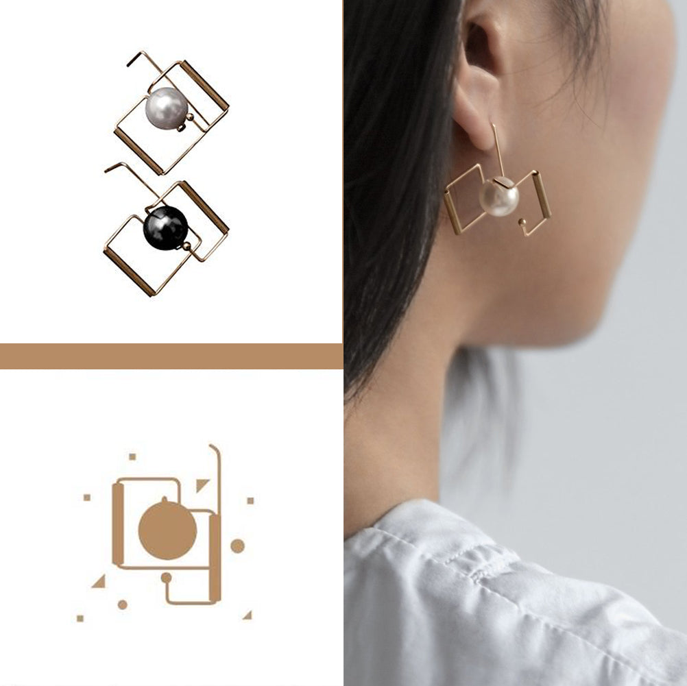 Architectural  Black & White Earrings - 2 to 5 Days Delivery