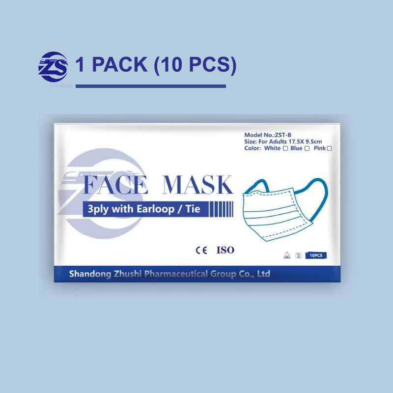 FDA & CE Certified Disposable Surgical Face Mask (1 pack/10ct, ASTM II)