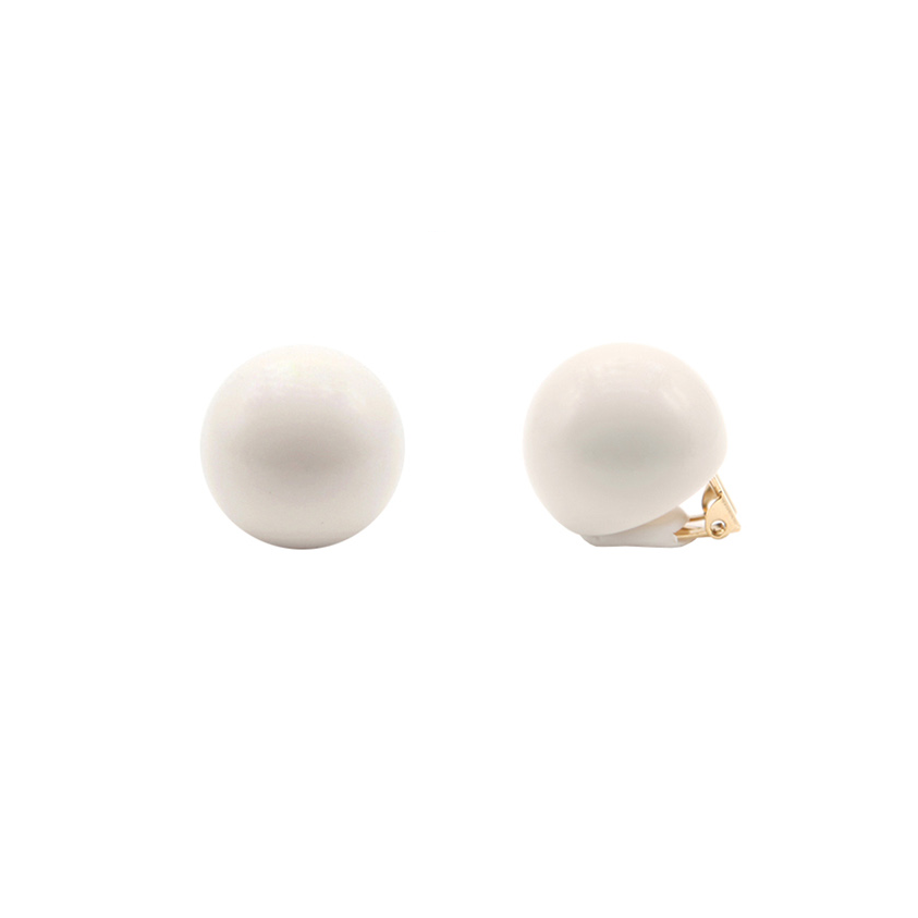 Hard Candy Series - White Ball Clip-On Earrings - AHED Project