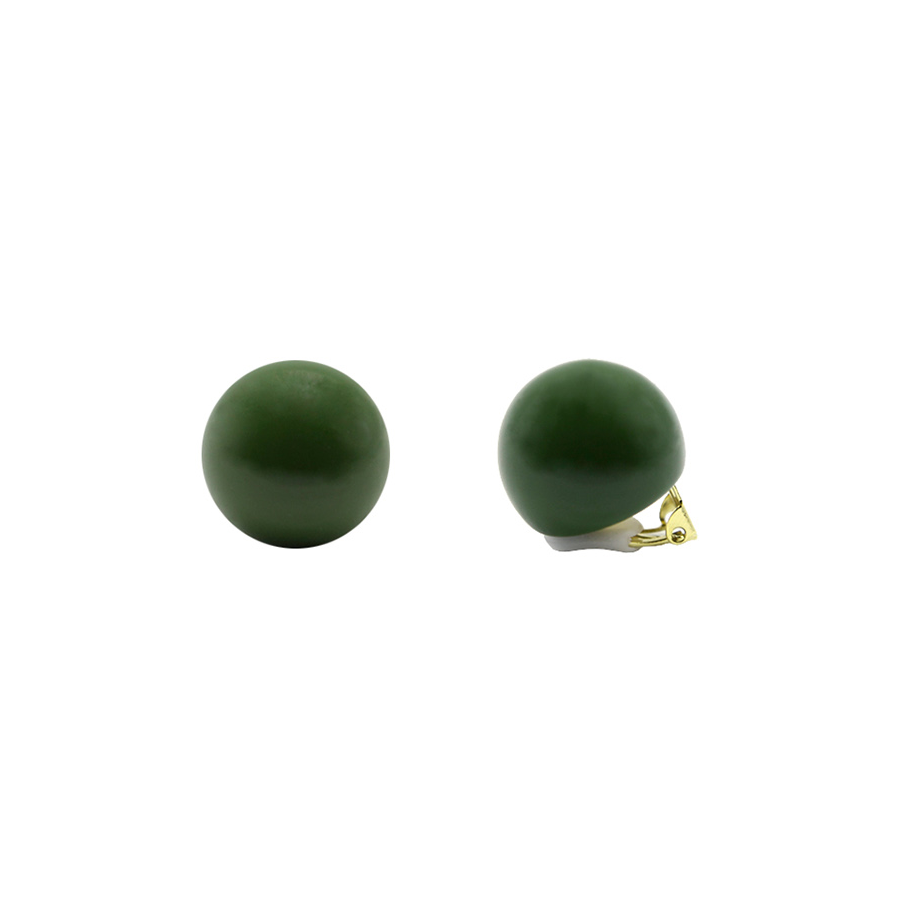 Hard Candy Series - Pine Green Ball Clip-On Earrings