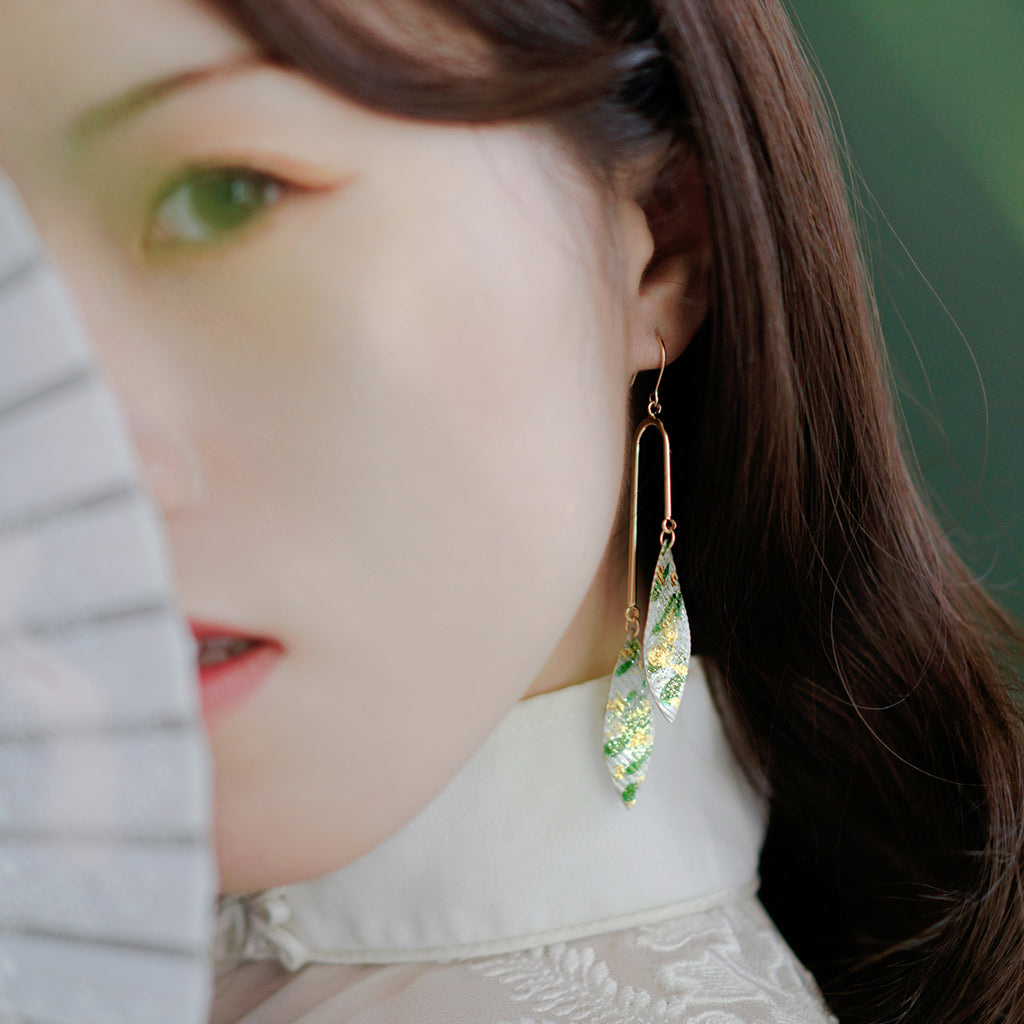 Bamboo Forest Series - Double Leaves Drop Earrings - AHED Project