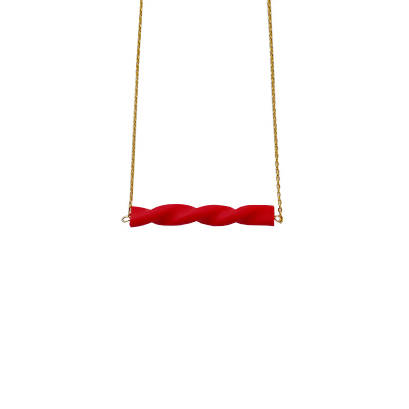 Red Twisted Clay Bar 18K Gold Plated Necklace