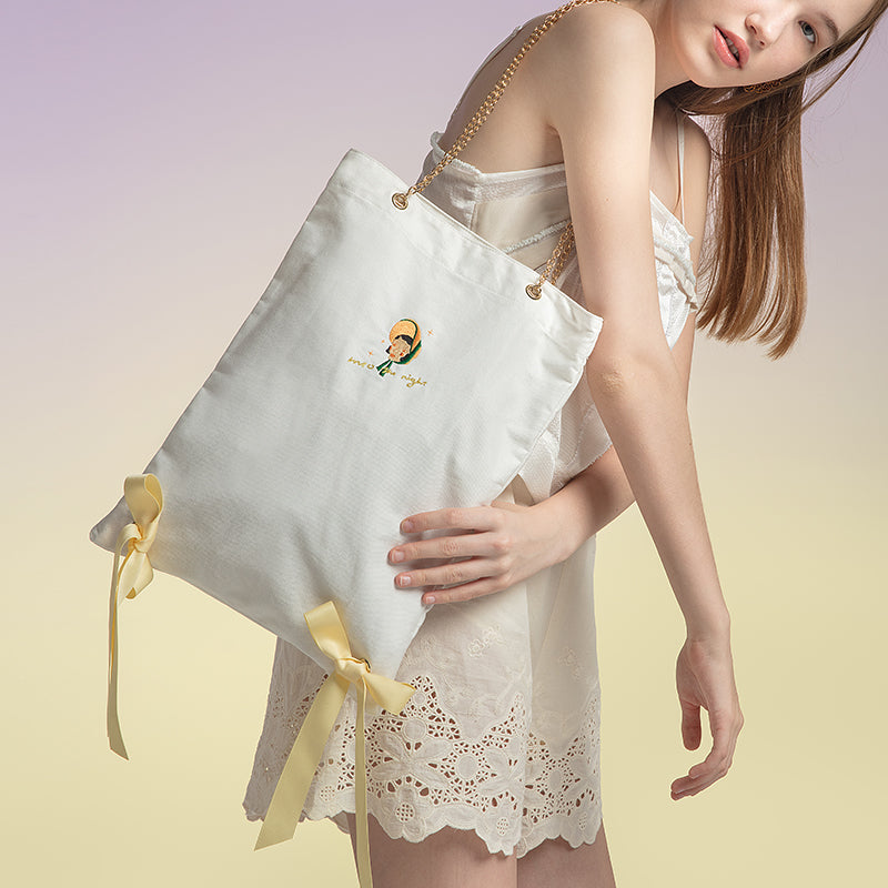 Doll Series - Creamy Bow Knot Chain Strap Canvas Tote Bag