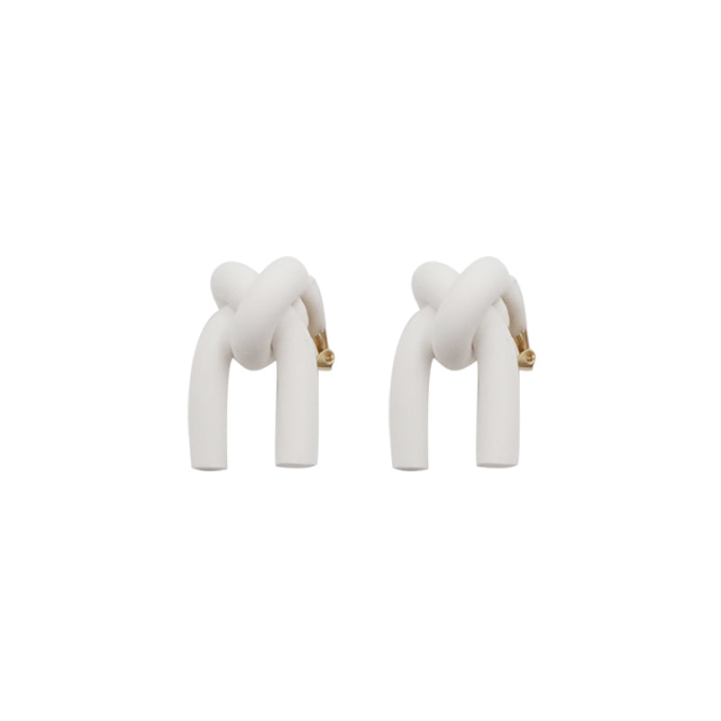 White Knot Clip-On Earrings