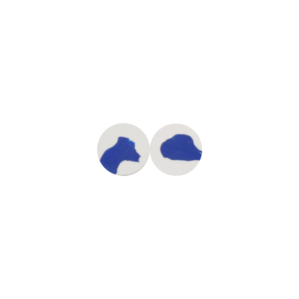 Hand-Painted Clay Disc Stud Earrings - Klein Blue Series - AHED Project