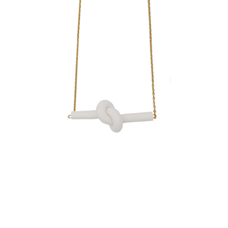 White Twist Knot 18K Gold Plated Dainty Necklace