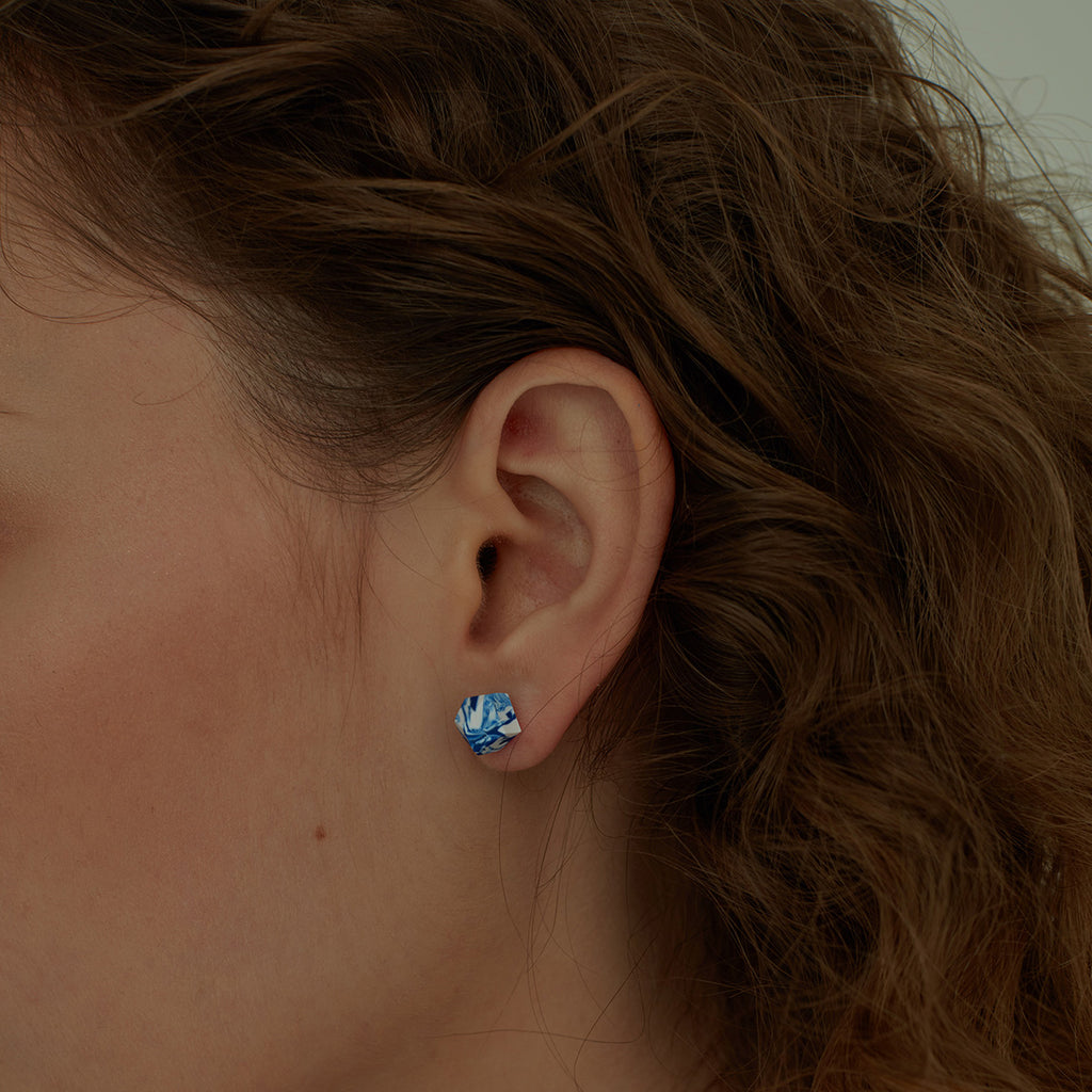 Klein Blue Hand-Cut Clay Studs Earrings (Quick to ship)