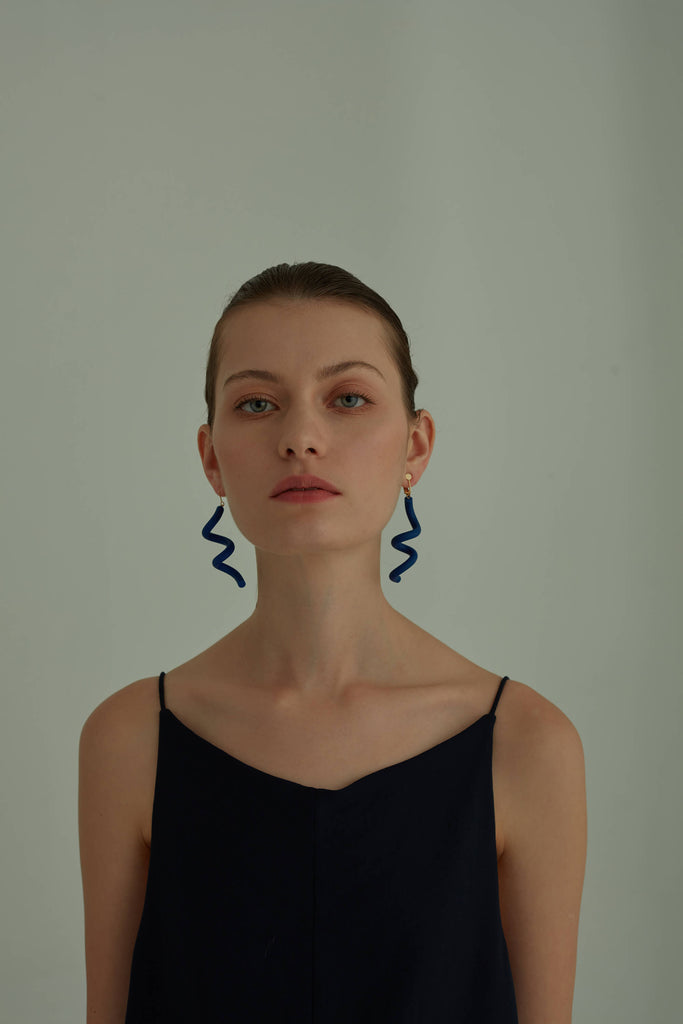 Spiral Drop Earrings in Klein Blue - AHED Project