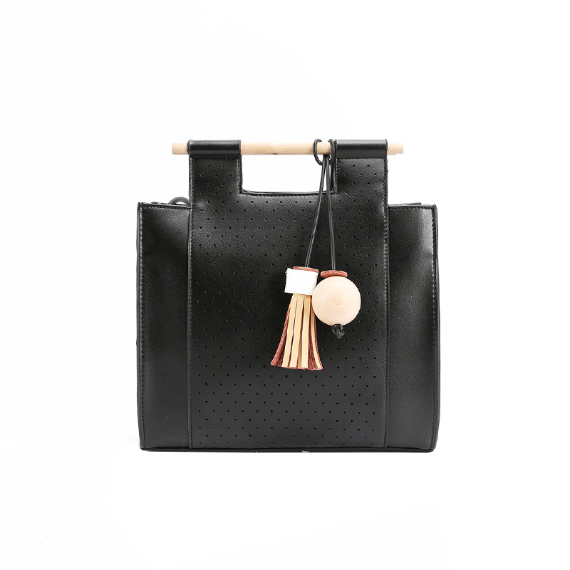 Wood Bar Handle Tassel Square Shoulder Bag