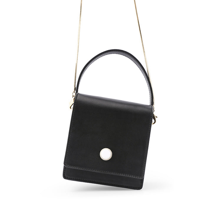 Vintage Pearl Small Black Box Crossbody Bag