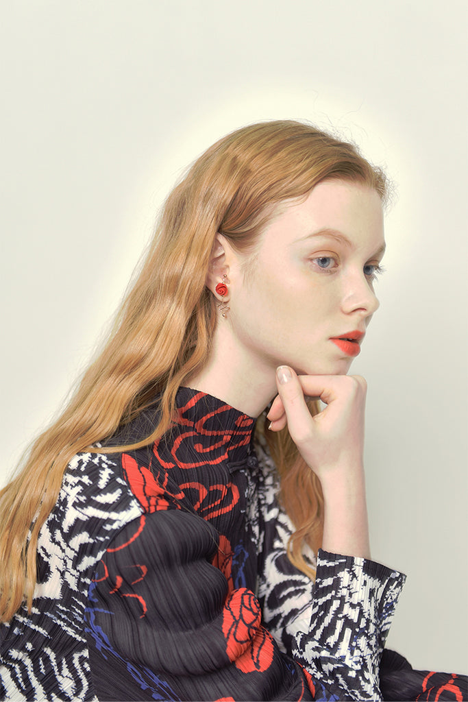 Fire Roses Series - Zigzag Wire Stud Drop Earring