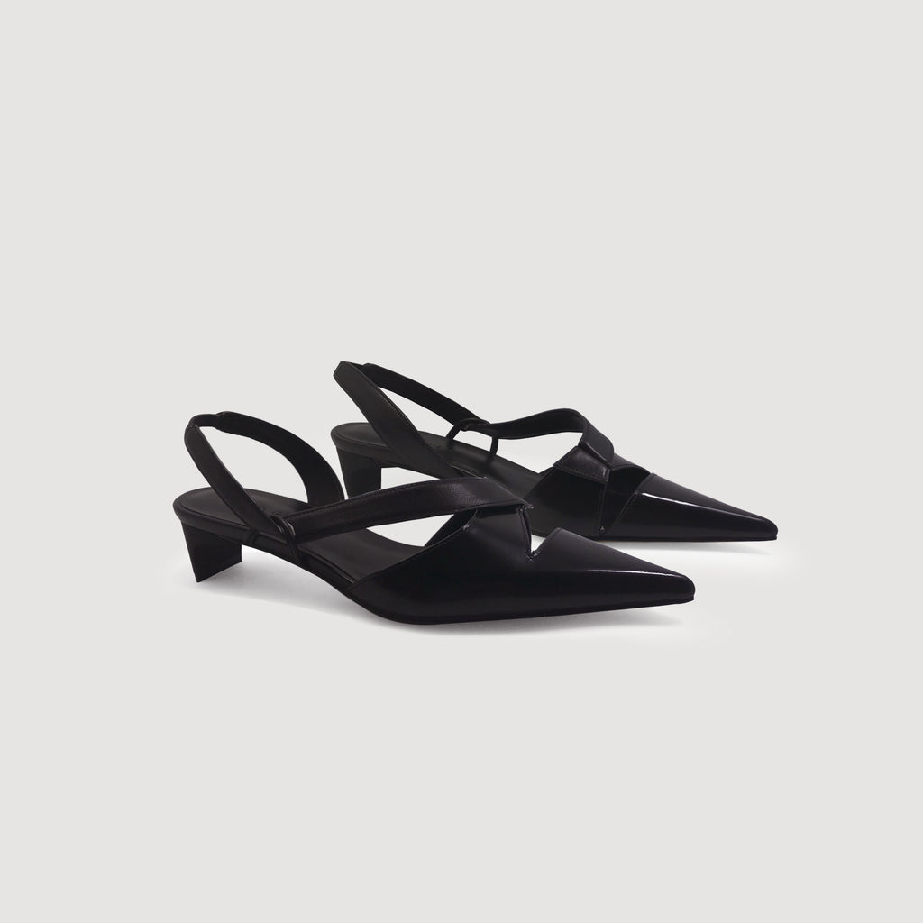 Pointed Toe Cutout Slingback Mid Heels - AHED Project