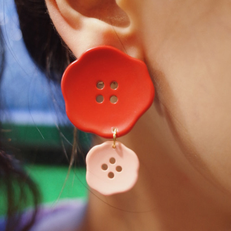 Button Flowers Clip-On Earrings