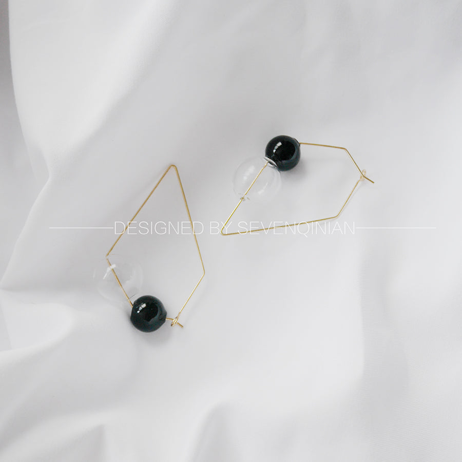 Structural Dual Color Bubble Earrings - 2 to 5 Days Delivery