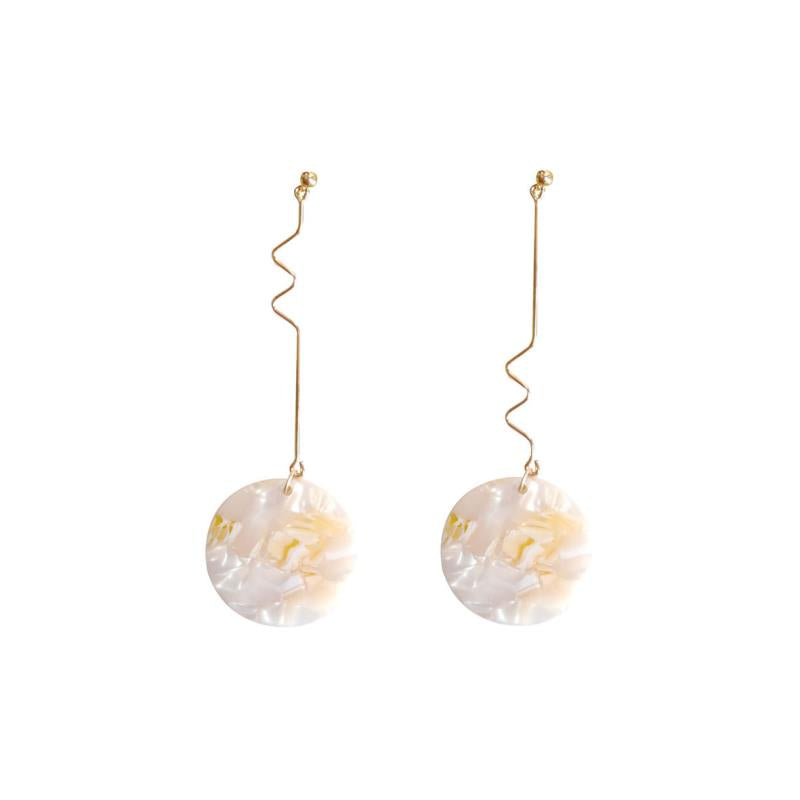 Soft Shimmery Disc Drop Earrings (Quick to ship) - AHED Project
