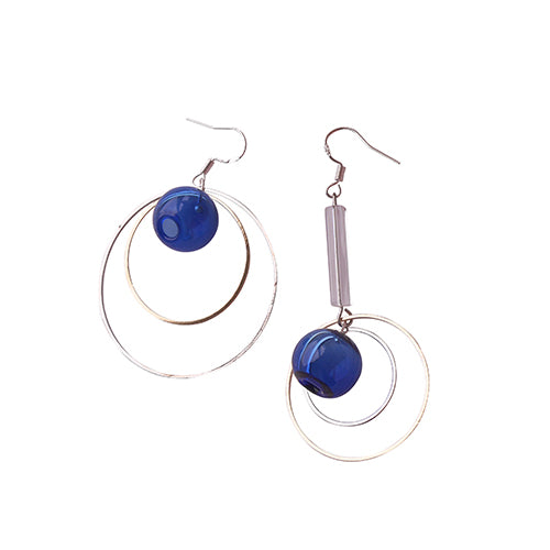 Asymmetrical Blue Bubble Drop Hoop Earrings - AHED Project