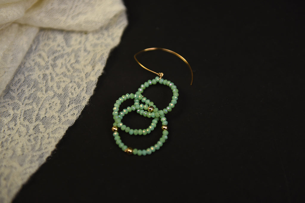 The Crystal Feast Series - Turquoise Crystal Glass Beaded Hoop Drop Earring