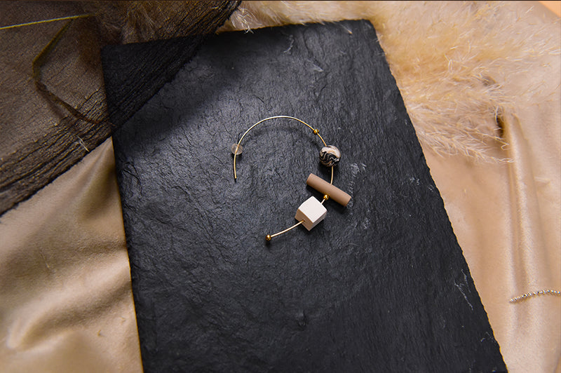 Natural Melody Series-Geo Clay Building Blocks Arch Earrings - AHED Project