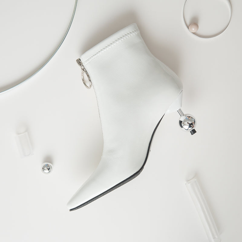 Retro Disco Heel White  Pointed Toe Zipper Boot