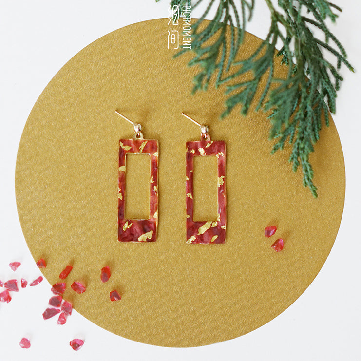 Retro Red Cutout Rectangle Inlaid Gold Stud Drop Earrings - AHED Project