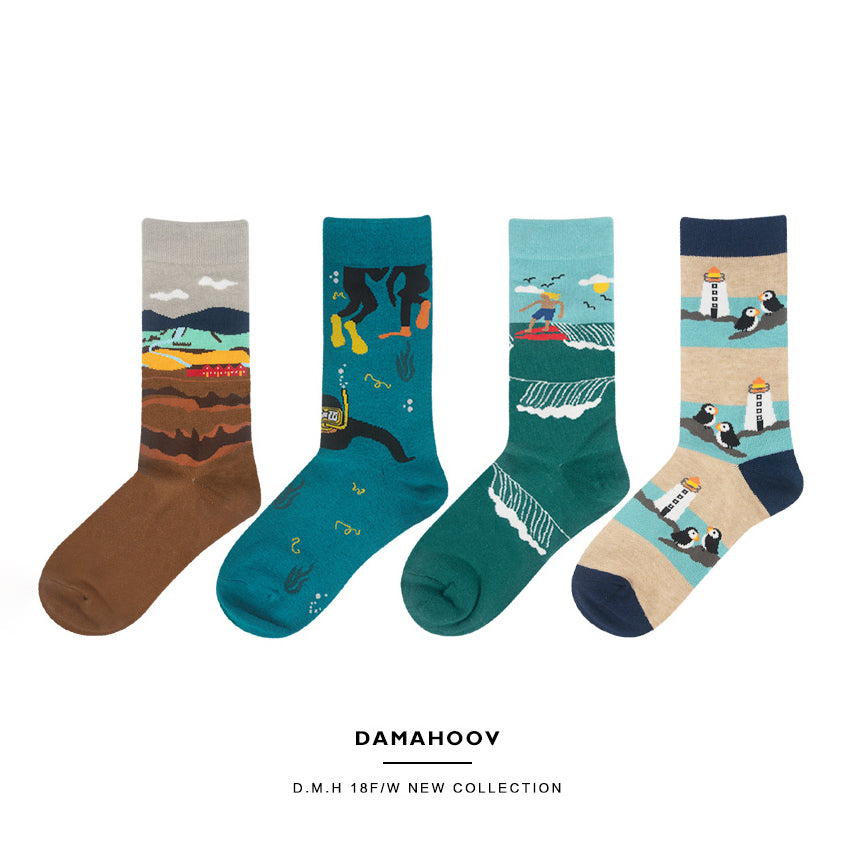 Nature & Sports Series Crew Socks - 4 Pairs