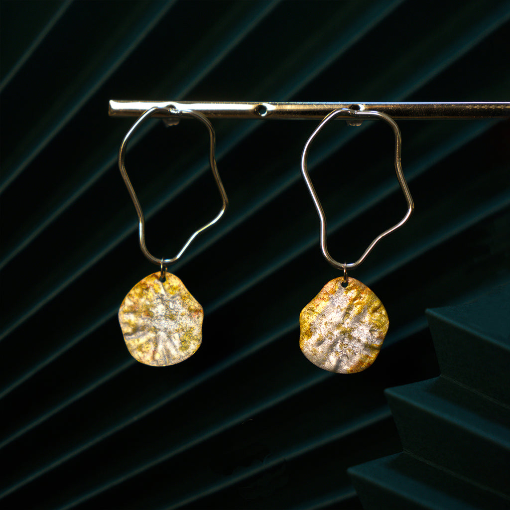 Sweet Osmanthus Blossom Series - Irregular Hoop Drop Earrings