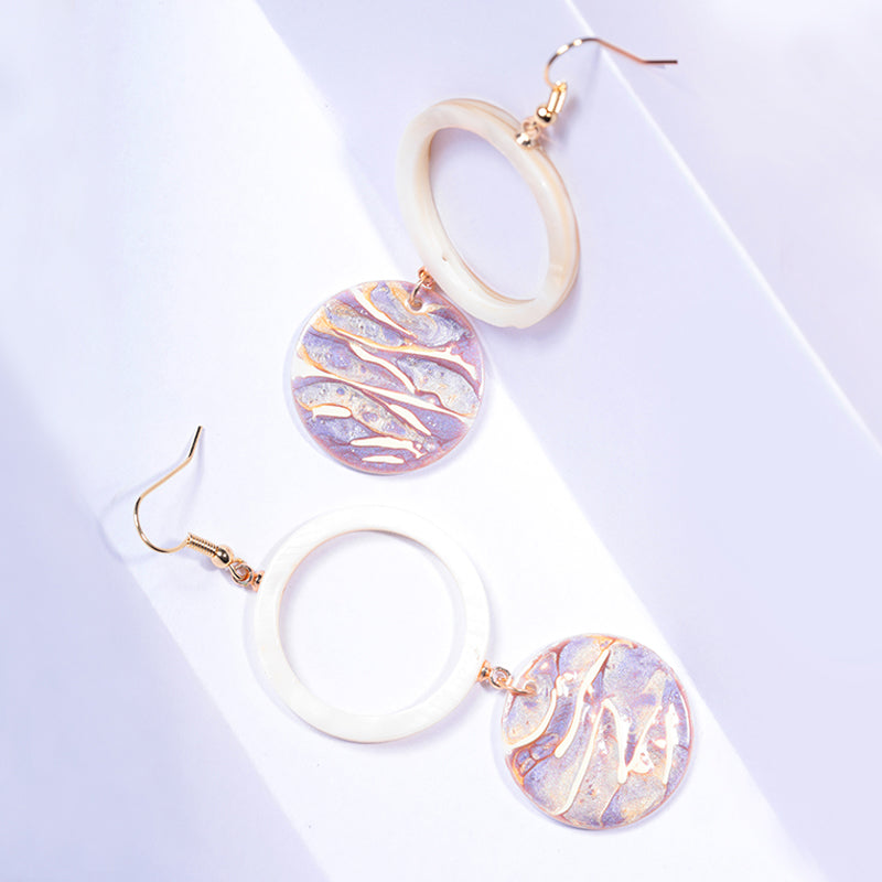 Light of Waves Series - Glistening Paint Over Shell Hoop Drop Earrings