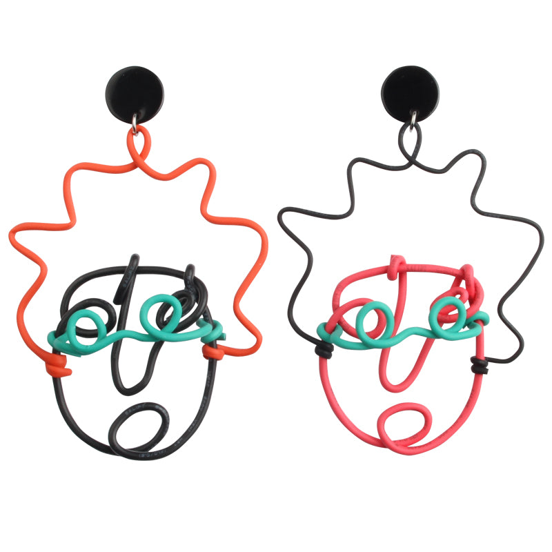 Playful Squiggly Face Statement Earring