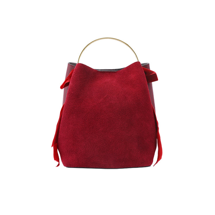 Dual-Texture Ring Top Handle Leather Bucket Bag - AHED Project