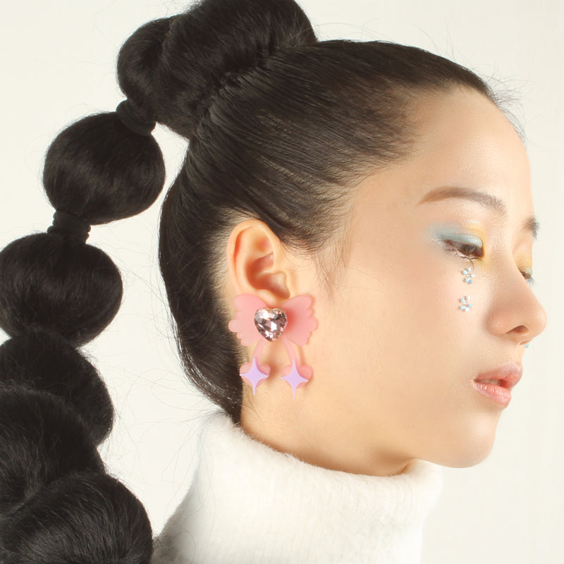 Laser Cut Iridescent Bow Stud Earrings - 3 Colors