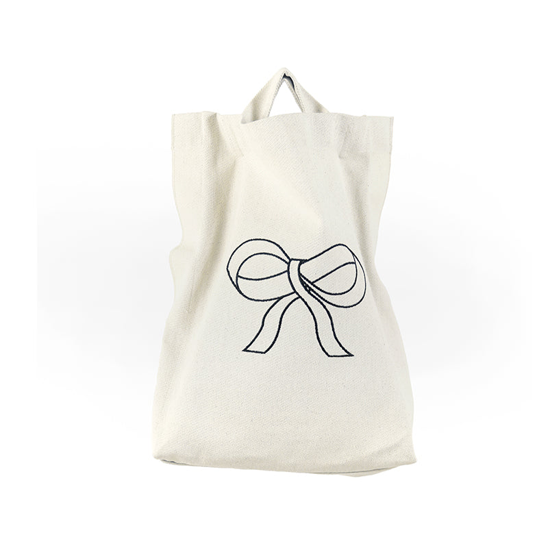 Bow Embroidery Multifunction Canvas Tote Bag