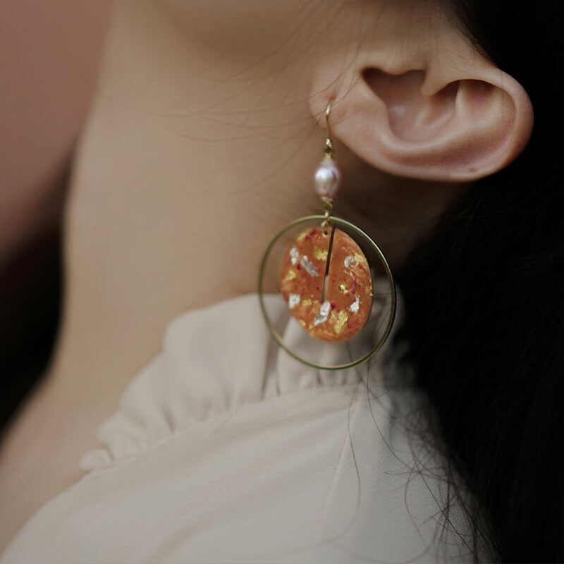 Hand Painted Retro Gold Foil Drop Hoop Earrings