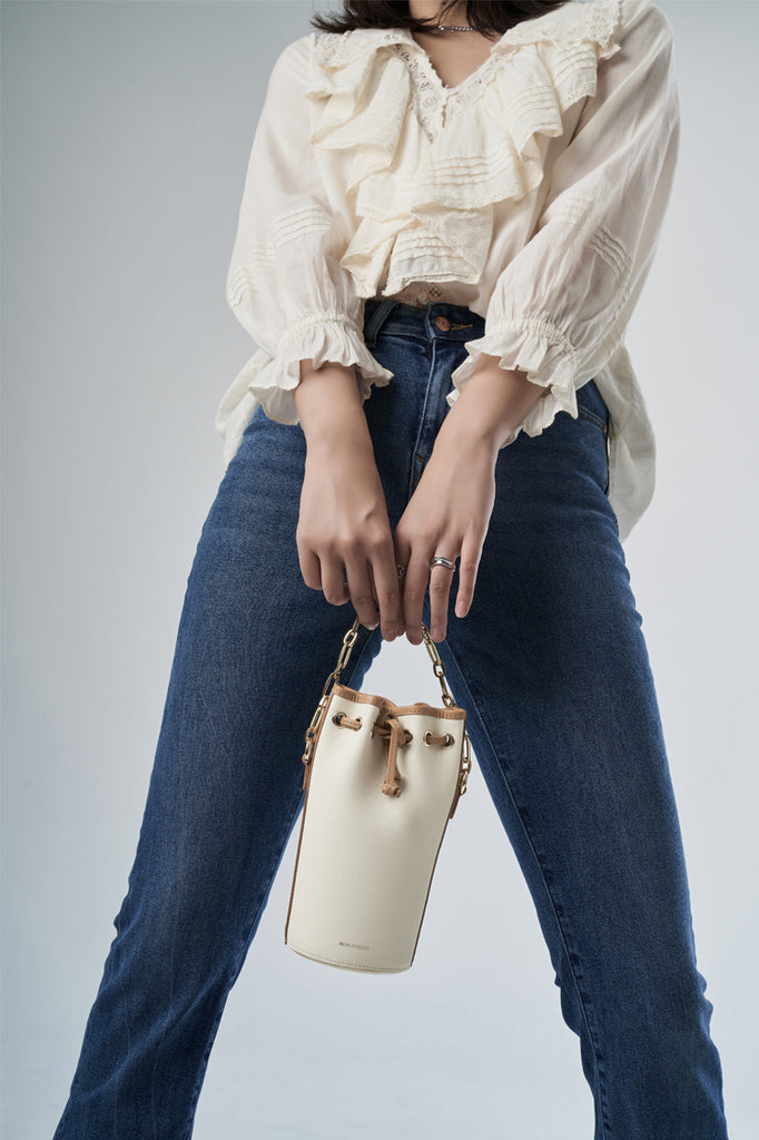 Small Drawstring Leather Bucket Bag - Tan