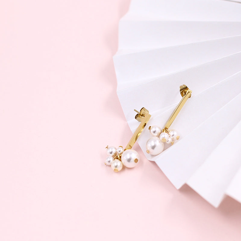 Pearl Vine Cluster Bar Drop Stud Earrings