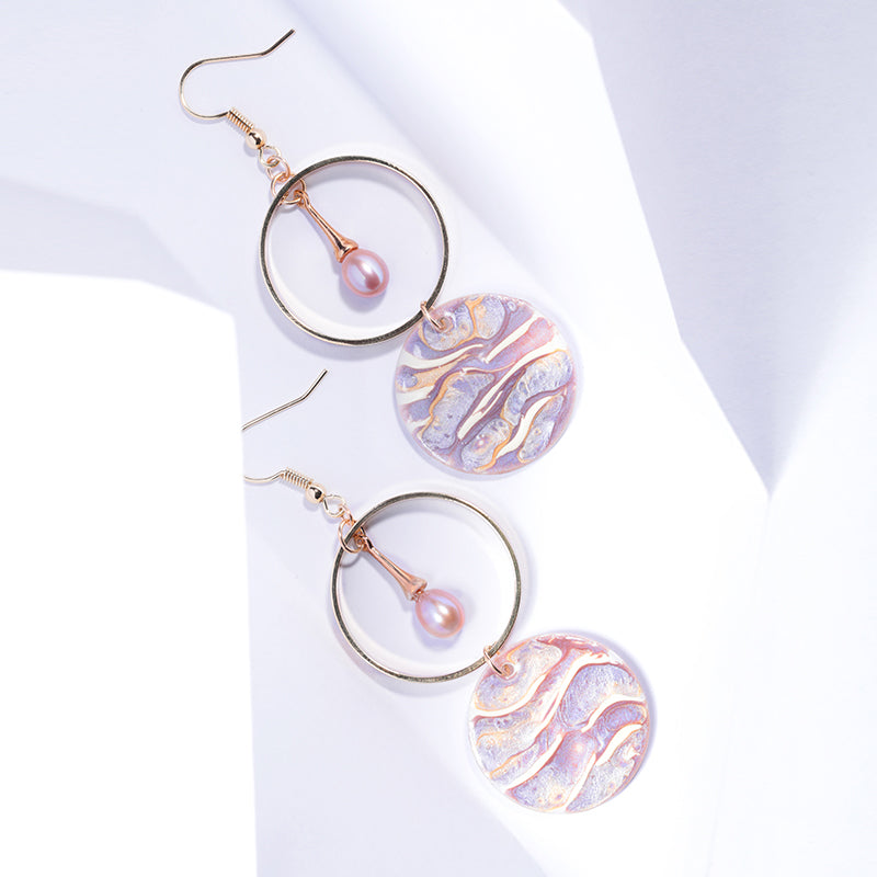 Light of Waves Series - Painted Shell Pearl Hoop Drop Earrings - AHED Project