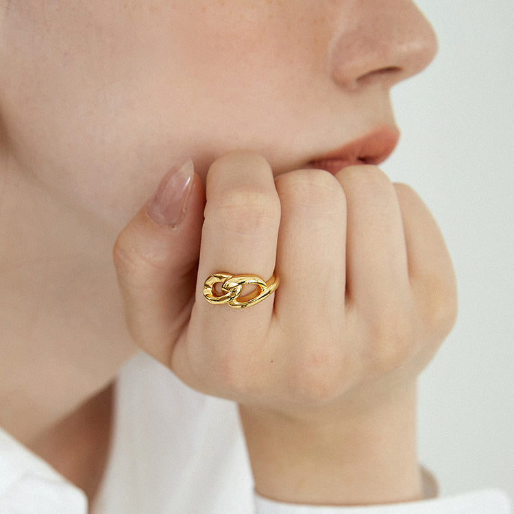 18K Gold Plated Link Knot Open Ring