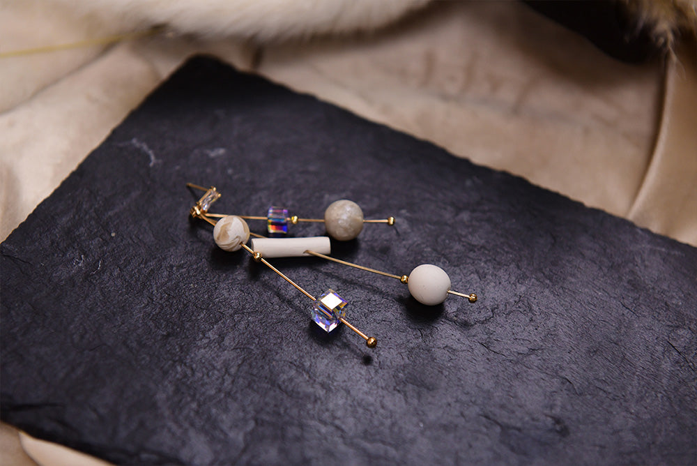 Natural Melody Series-Cluster Clay Beads Fireworks Stud Earrings - AHED Project