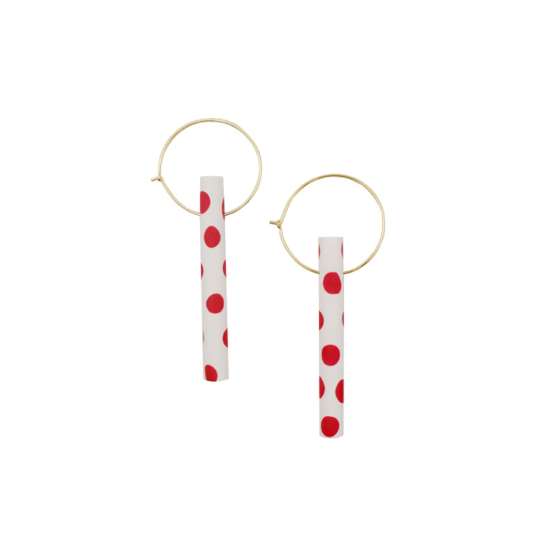 Polka Dot Round Bar Drop Hoop Earrings - AHED Project