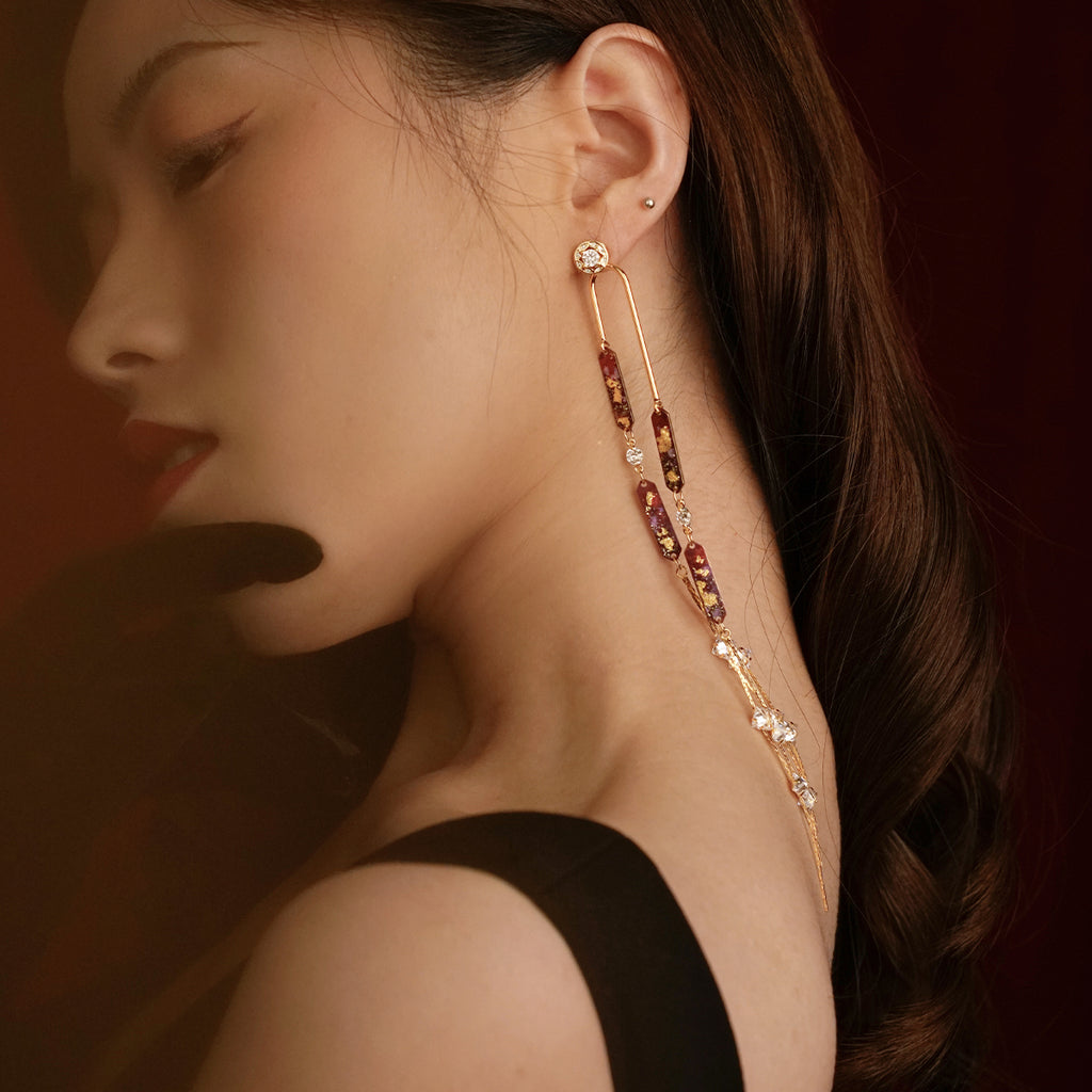 Year Of The Mouse Collection - Hand Painted Long Drop Zircon Earrings