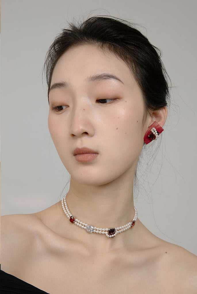 PROMISE Series -Double Layered Pearl Gem Necklace