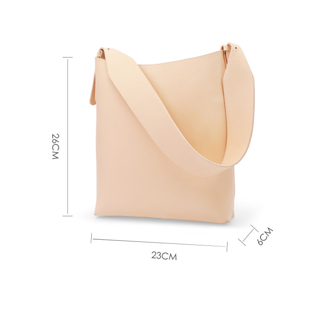 Minimalist Cream Apricot Leather Tote Bag