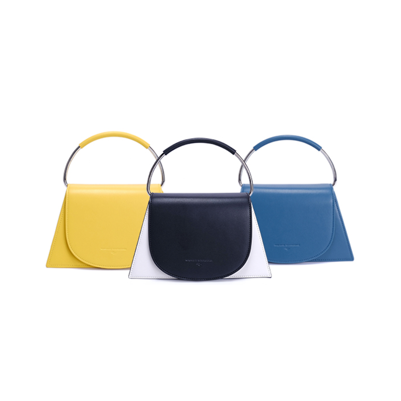 Top Handle Structured Trapezoid Bag - Blue (Quick to ship)