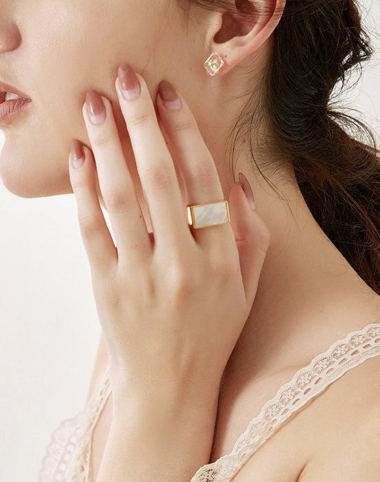 18K Gold Plated Seashell Chunky Ring
