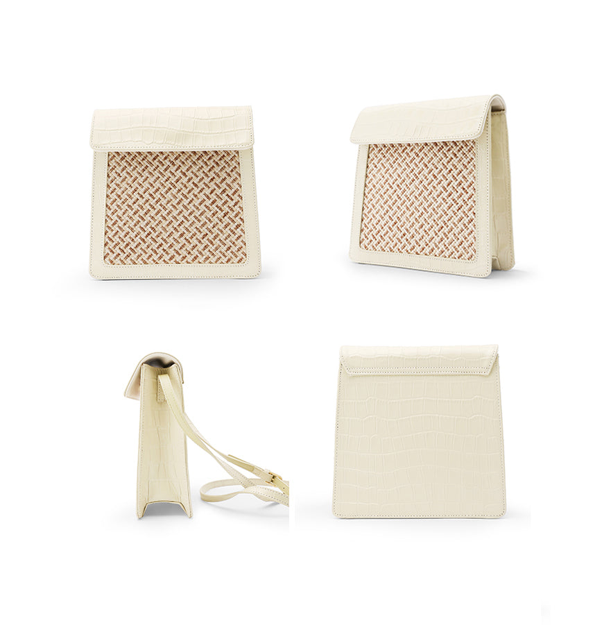 Cream White Woven Leather Crossbody Bag - AHED Project